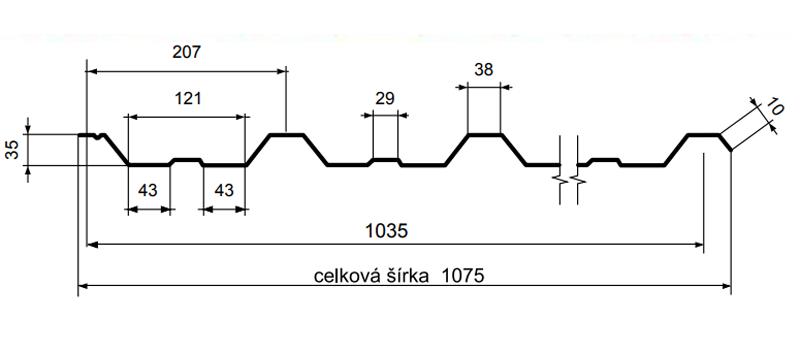 Maslen - Detalii tehnice tabla cutata T35, producem in Romania